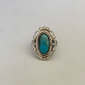 Vintage Sterling Silver Turquoise Statement Ring